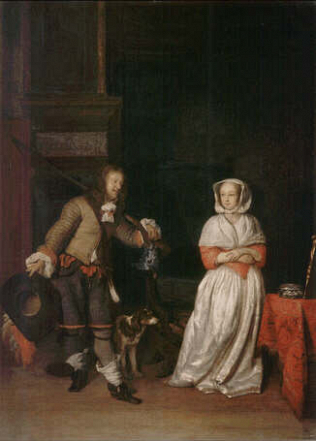 A Lady and a Kinght - Gabriel Metsu (Oil on wood, 56x50)