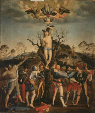 Martyrdom of Saint Sebastian - Girolamo Genga (Tempera on wood, 100x83)