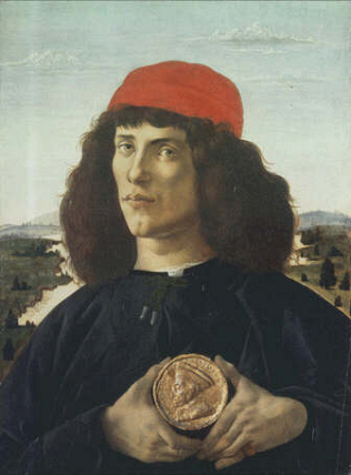 Portrait of a Young Man with a Medal - Sandro Filipepi called Botticelli (Tempera on wood, 51.5x44)