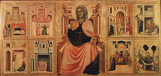 Saint Cecilia and Eight Stories from her Life - Saint Cecilia Master (Tempera on wood, 85x181)